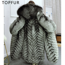 TOPFUR 2018 NEW Super Luxury Natural Fox Fur Coat For Women Winter Fur Jacket Fashion 130cm Long Russian Real Silver Fox Fur fashion 2018 russian winter mother