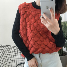 College Wind Solid Casual Loose All Match Fashion Sleeveless O-neck Female Vest  Pullovers Regular Sweaters