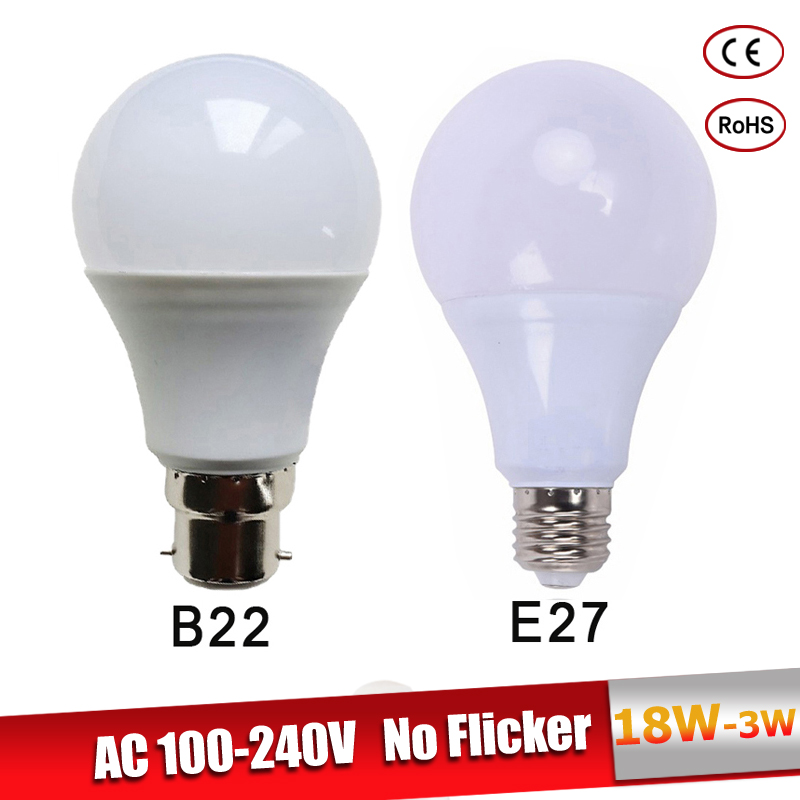 lamparas led e27 B22 LED Bulb 220V 110V 3W 5W 7W 9W 12W 15W 18W real power lampadine led Cold Warm White Led Spotlight bulb стоимость