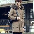 Calor de Invierno 2016 nuevos hombres abajo chaqueta caliente ropa de los estudiantes calientes marea hombres de la chaqueta en la parte larga de algodón negro de color caqui