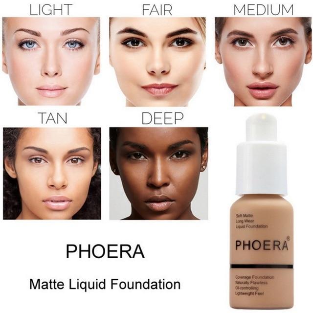 PHOERA Soft Matte Light Cream Long Lasting Liquid Face Foundation Makeup Coverage Foundation Natural Oil Control Maquiagem 1
