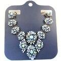 2014 Gran Marca de Lujo del Diseño del Cortocircuito del Resorte de La Manera Azul de La Flor Collares Declaración Para Las Mujeres
