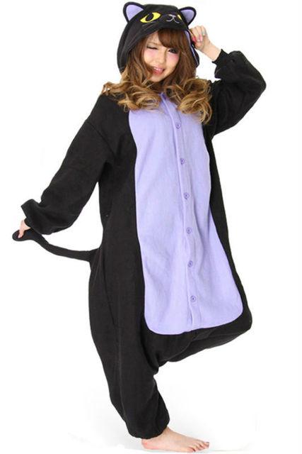 42fc14f897 Polar Fleece Spooky cat Onesies Pajamas Rompers Woman Animal Cosplay  Pyjamas Carnival Christmas Party Halloween Cosplay Costumes