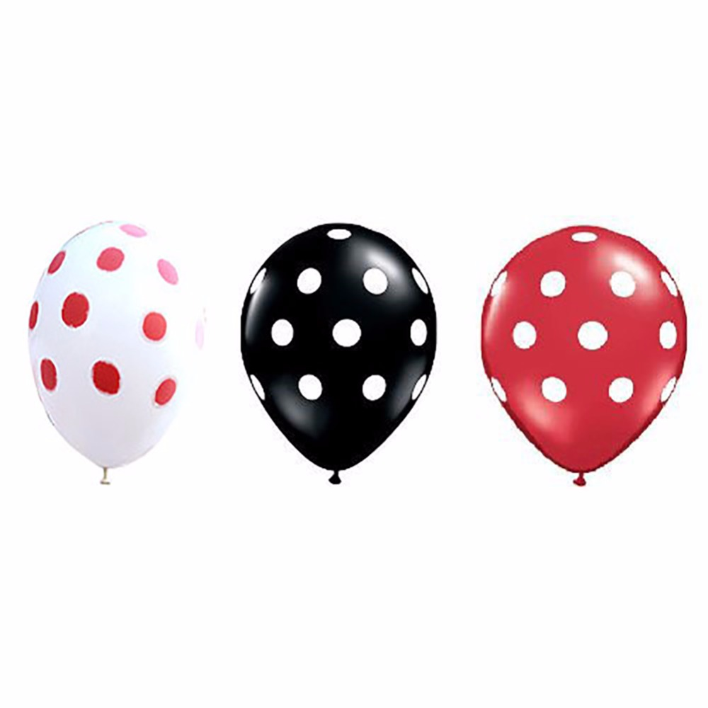 36ct Assorted Red Black Clear Balloons with White Polka Dots Party ...