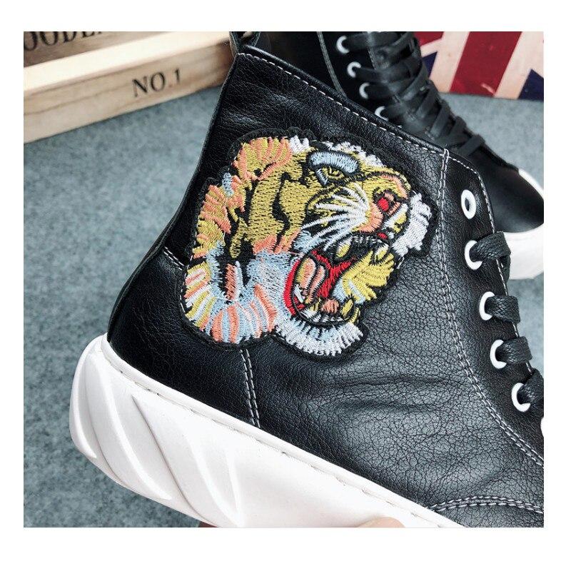 2019 Pour Noir Décontractées blanc Platfrom Web Hip Haute De Loisirs Brodé Celebrity Chaussures Tigre Épais Mode Visage hop Hommes Fond Sneakers SUGLqMpzV