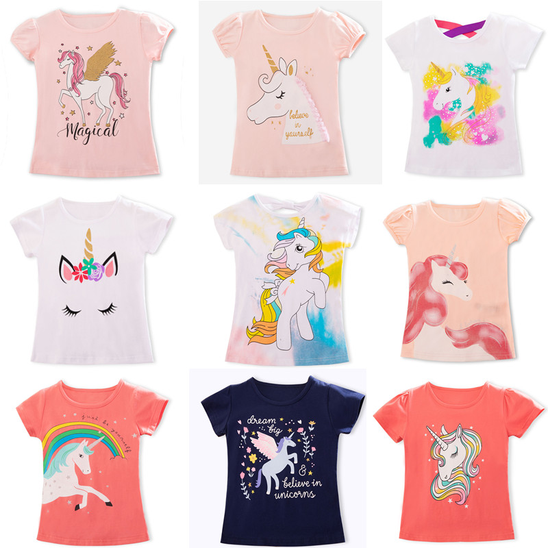 Fashion Unicorn Girls T-shirt Children Short Sleeves White Tees For Boys Baby Kids Cotton Tops For Girls Clothes 3 4 5 6 7 8 Yrs