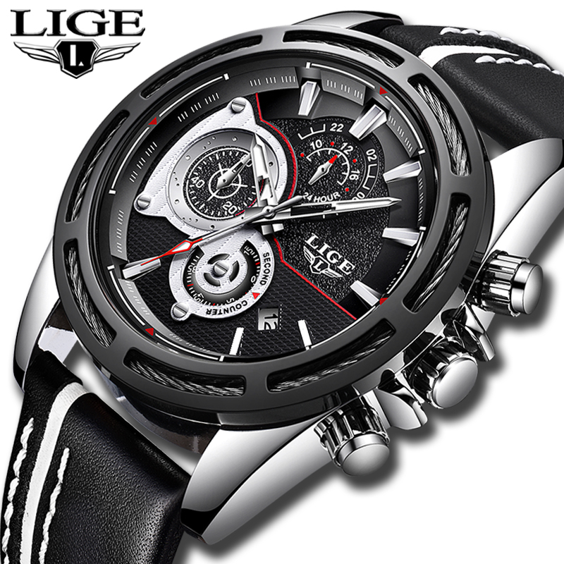 Men Watches LIGE Top Brand Luxury Waterproof Sport Watch Men Calendar Military Leather Quartz WristWatch Male Relogio Masculino