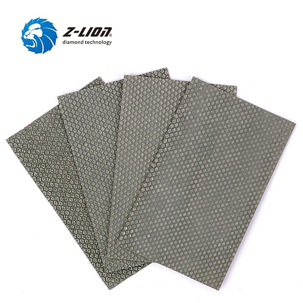 Z-LION  4PCS Polishing Sandpaper Diamond Electroplated Abrasive Sanding Sheet 90*55mm Wet Dry Use Grinding Polishing Tools