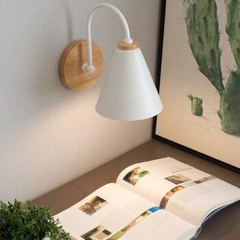 ברזל LED קיר אור גופי סלון חדר שינה מנורת קיר פמוטים עץ מדרגות תאורה בר אוכל המיטה Wandlamp Arandela