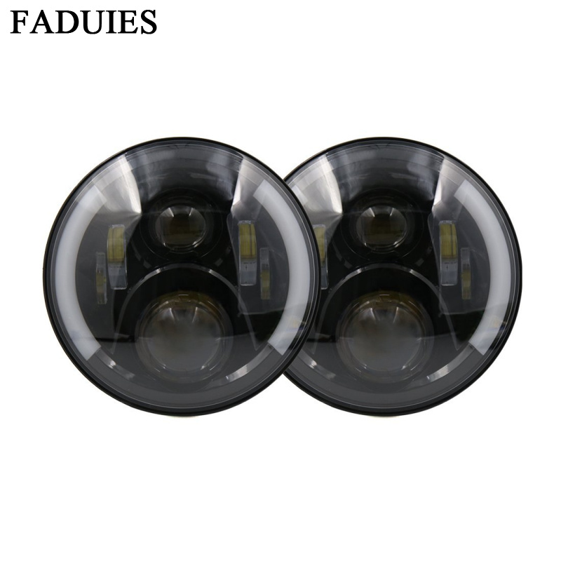 FADUIES 1 Pair 7 LED Headlight With Halo Angel Eyes For Lada 4x4 urban Niva Jeep JK Land rover defender Hummer 7 inch Led light руководящий насос range rover land rover 4 0 4 6 1999 2002 p38 oem qvb000050