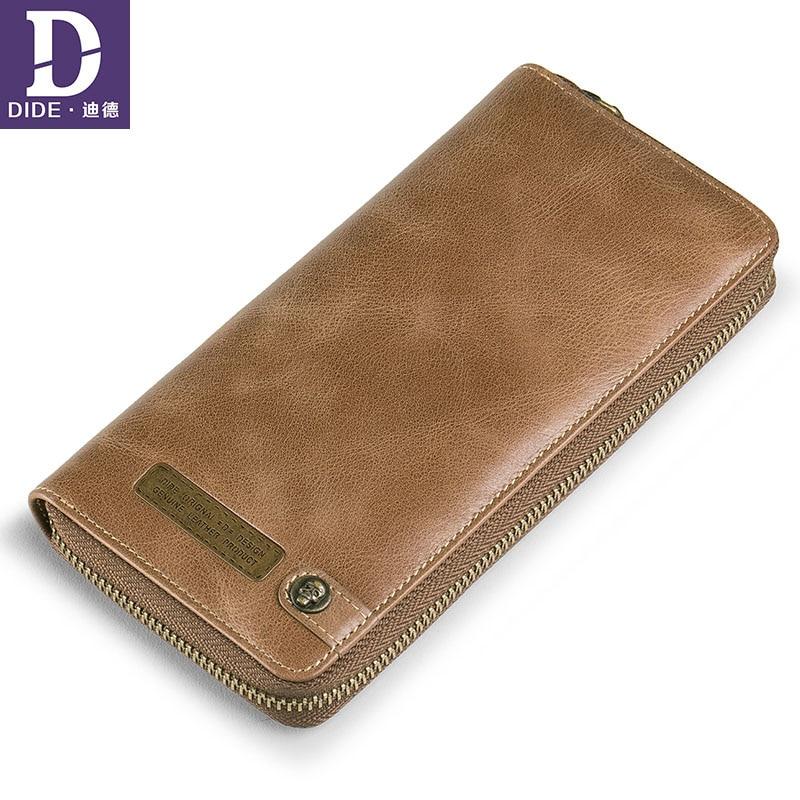 DIDE Men Wallet Card-Holder Cell-Phone-Clutch-Bag Long Purse Zipper Vintage Male Genuine-Leather