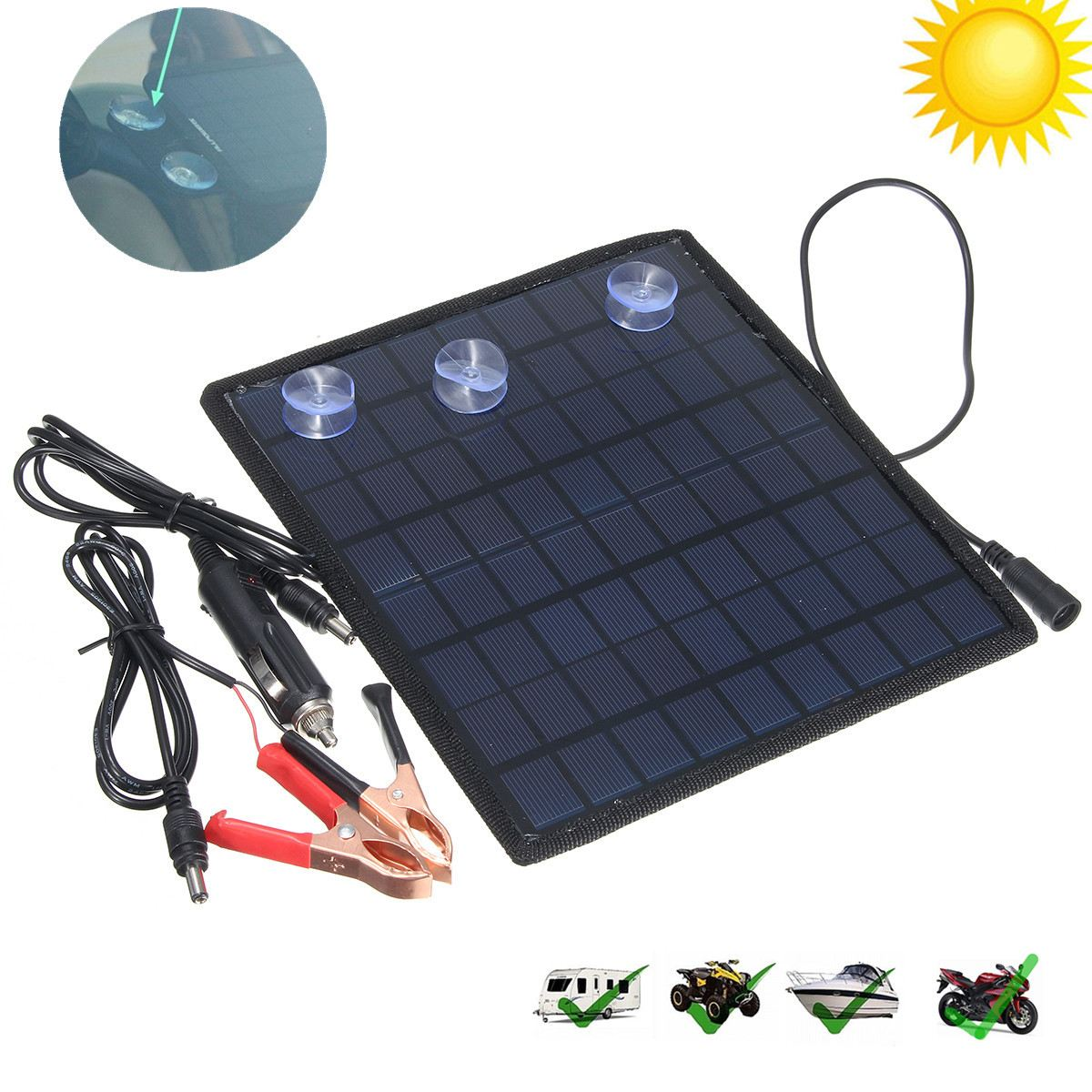 Good Quality Solar Panel Car Charger 12V Battery Charger Solar Maintainer Charger for 12V Battery of Car Automobile Motorcycle 1 5w solar powered auto car battery charger black