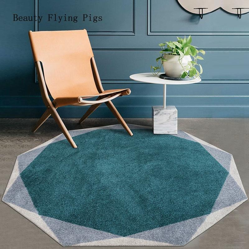 Postmodern light luxe salon thé traditionnel fait à la main géométrique rond tapis rétro nordique modèle chambre chevet tapis