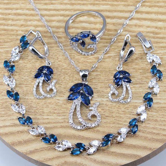Blue Cubic Zirconia Silver...