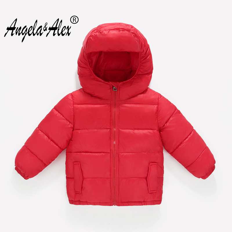 Angela&Alex Children Winter Jacket Hooded Cotton Padded Coat for Girls Boys 6 Candy Colors 3-8T Kids Light Parka Windproof Wear alex evenings new black jacket msrp $ 179