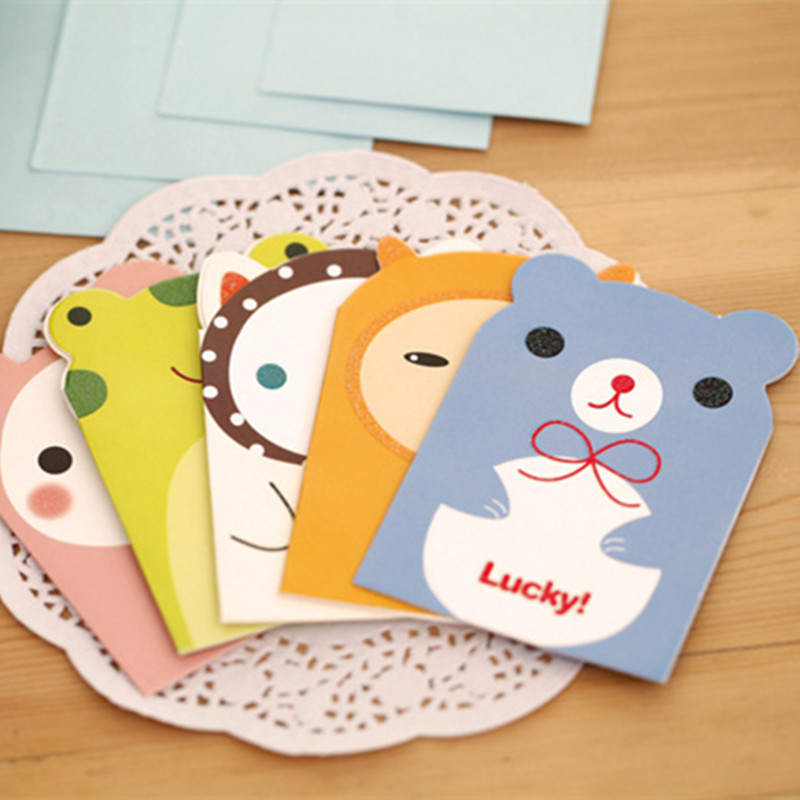 20pcs Mini Cute Kawaii Invitation Card Lovely Cartoon Animal
