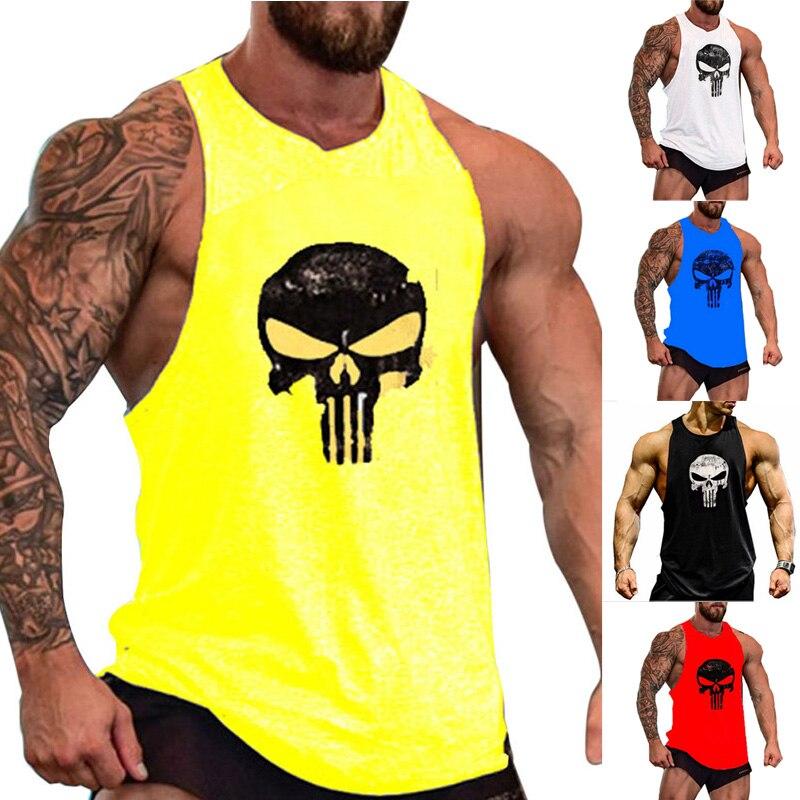 Men Sleeveless Gym Singlet Bodybuilding Fitness Tank Top Vest For Summer IK88