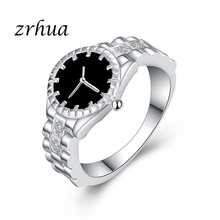 ZRHUA Top Quality Shiny CZ Crystal 925 Sterling Silver Wedding Ring Jewelry For