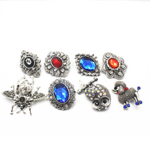 Mix 10pcs/lot Rhinestone Elephant Many Styles 18-22mm Big Alloy Snap Buttons Fit Women Bracelets Watches DIY Jewelry