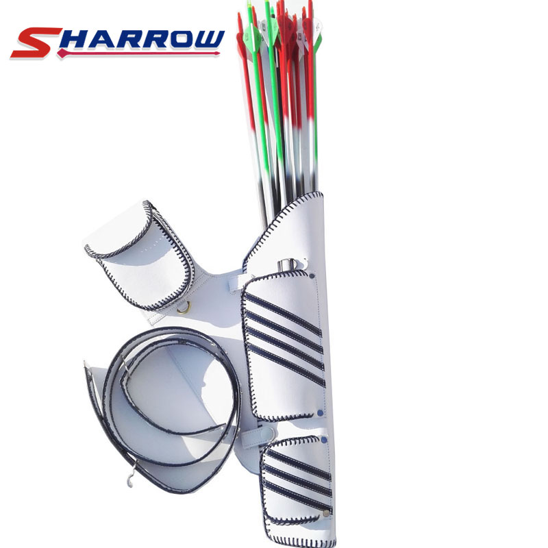 1 Piece White Strap Archery Quiver Leather Adjustable Belt Hanging Arrow Accessories in Bow Arrow from Sports Entertainment