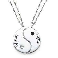 Link Pendant Necklace Engraved Yin Yang 2 Pieces Necklace Custom Made with 2 Names with White and Black Birthstones YP2755 necklace 2