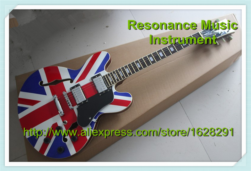 Custom Shop ES Electric Union Jack Guitar China OEM Guitar Body & Kits Custom Available china oem firehawk guitar wholesale custom shop sg electric guitar a piece wood of the neck electric guitar