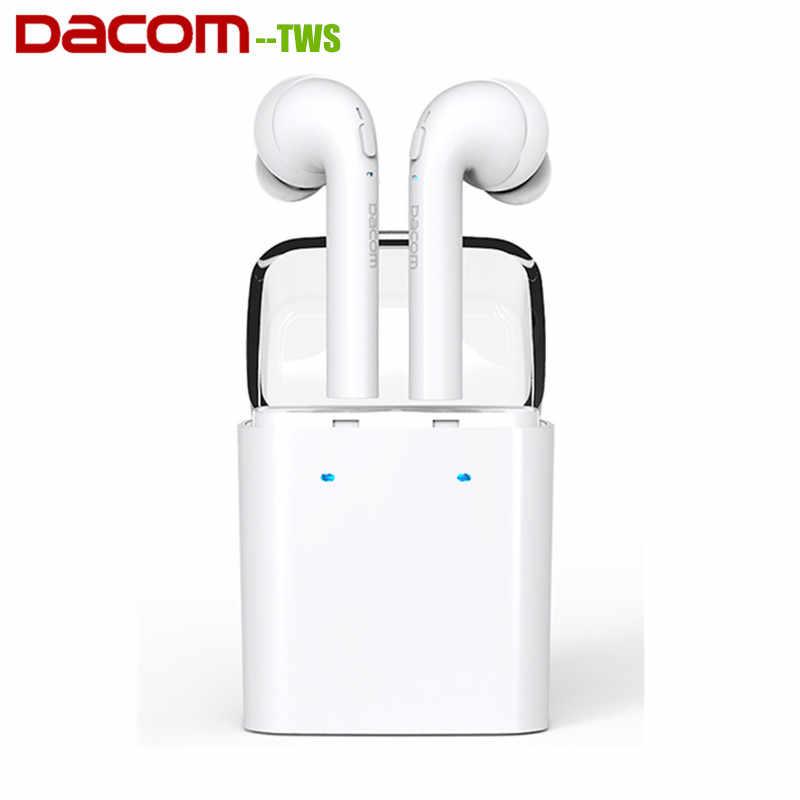 Оригинал Dacom TWS настоящие беспроводные Bluetooth наушники для Apple iPhone 7 7 plus гарнитура Двойные близнецы наушники для Android