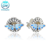 2015 New Arrival Sterling Silver Butterfly Animal Stud Earrings For Women Fits Evening Party Kid Children