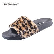 936c7822492d35 Women Slippers Ladies Home Female Indoor shoes Woman Slip On Slides Faux Fur  Flat Fashion Leopard. 6 Colors Available