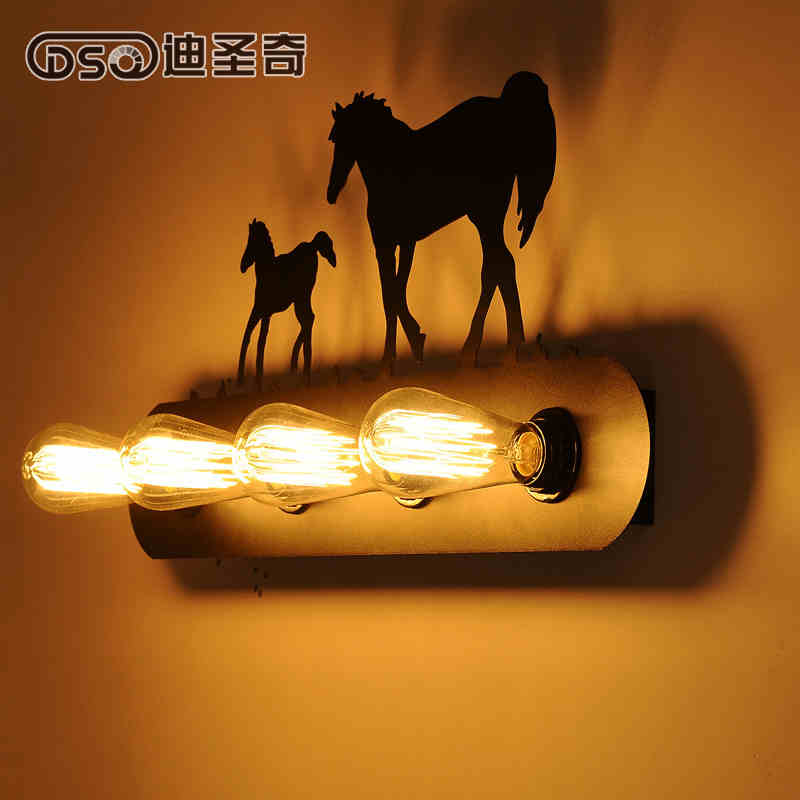 ФОТО Vintage American country restaurant lighting European aisle stairs lamp bedside wall lamp like Ma creative animal wall lamp
