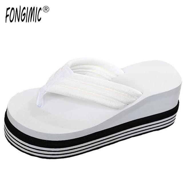 Fongimic Summer Women Flip Flops Wedge Striped Sandals Garden Shoes Handmade Simple Slippers Hawaiian Beach