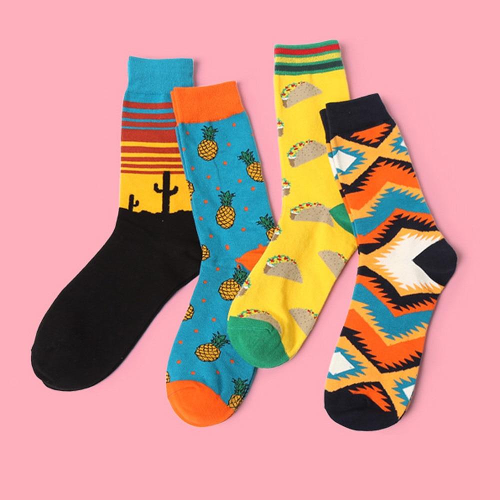2018 New 1pairs/Lot fashion mens cotton long socks men socks colorful Comfortable Soft happy socks