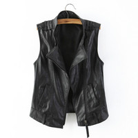 Plus Size 3XL Female Black Leather Vest Spring Zipper Cool Motorcycle LeatherJacket Women's All Match PU Leather Waistcoat f558