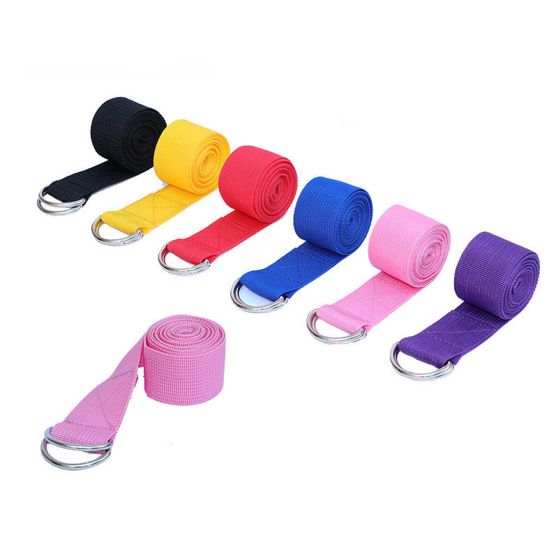 Multi-Colors Women Yoga Stretch Strap D-Ring Belt Fitness Exercise Gym Rope Figure Waist Leg Resistance Fitness Bands Yoga Strap