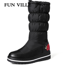 FUN VILLE Hot New Arrival womens Mid Calf Boots Winter Warm Snow Round Toe High Female Platform shoes Size 35-44