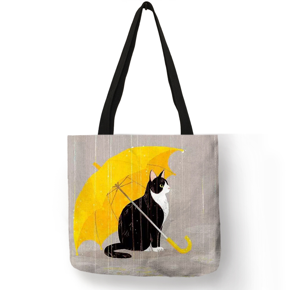 Customized Cartoon  Cat Print Tote Bag For Women Reusable Shopping Bags Folding Travel School Bags Pouch