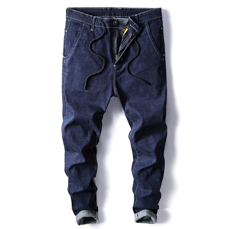 High Quality Men Cotton Blue Denim   Jeans   Men Elastic Waist Harem Pants Slim   Jeans   Men Large Size Solid Casual Denim   Jeans   Size40