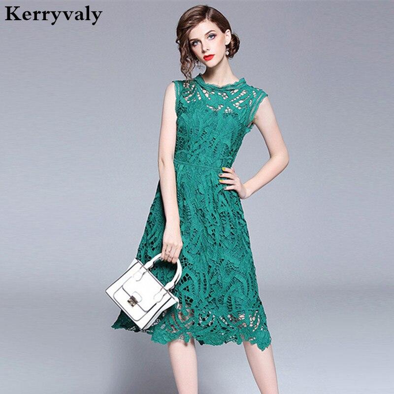 4395c0493a139d4 Летнее зеленое кружевное платье без рукавов Zomerjurken 2019, пляжное  платье миди с вырезами, платье для вечеринок, платье для женщин Ete K3871