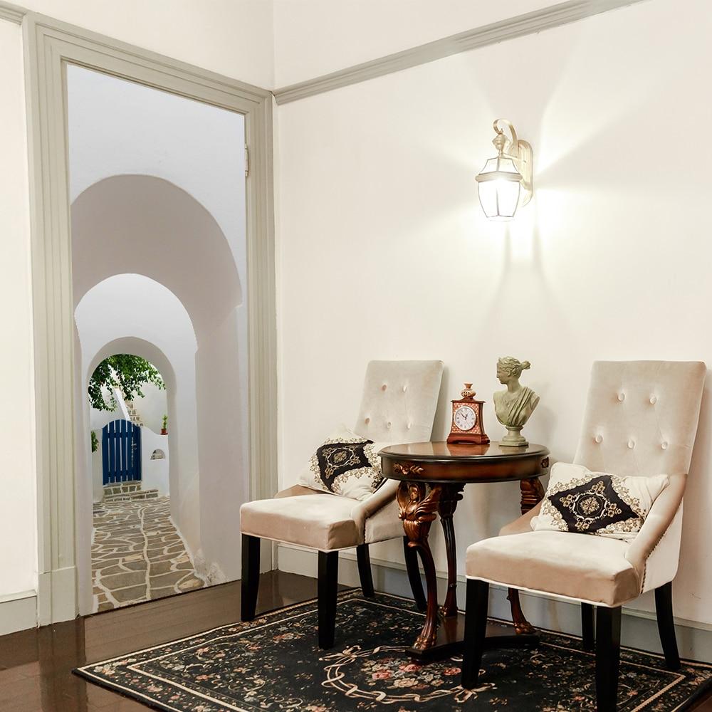 3D griego porche puerta pegatina papel pintado imitación pared pegatina dormitorio salón comedor decoración del hogar pared