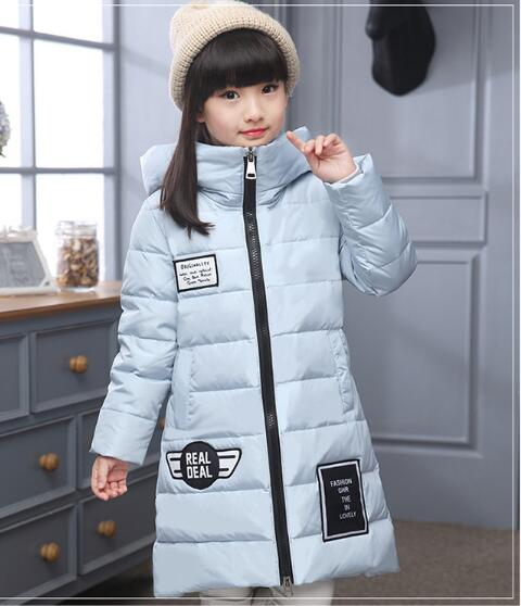 Kids Girls Winter Hooded Down Jacket Padded Children Long Cotton Coat Style Thickened Baby Thick Warm Kid's Clothing Overcoat korean baby girls parkas 2017 winter children clothing thick outerwear casual coats kids clothes thicken cotton padded warm coat