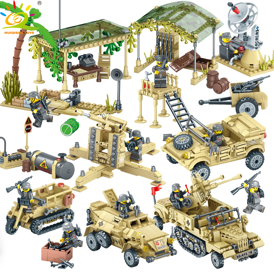 HUIQIBAO TOYS 1764pcs Field Army Soldier Trucks Building Blocks For Children Compatible Legoed Military WW2 Weapon Gun Bricks [yamala]military firewire blocks soldier war weapon bricks building blocks sets classic airman toys for children diy heavy gun