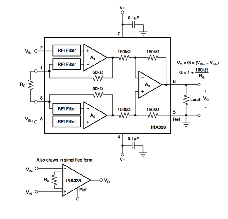 INA333 Low Power Precision Instrumentation Amplifier Three op amp/'s Multi Module