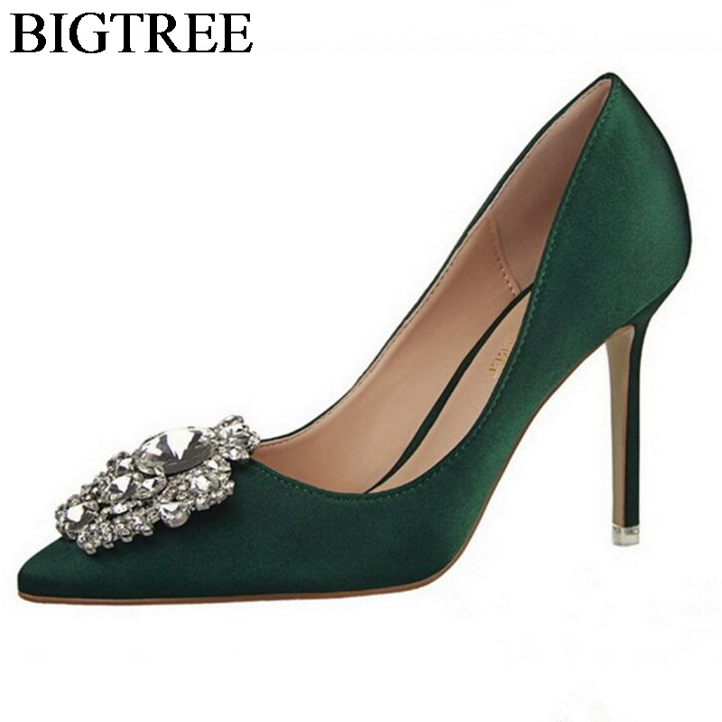 BIGTREE Ladies Pumps High-heeled Shoes Woman Pointed Toe Stiletto Green Party Shoes Luxury Designer Rhinestons Thin Heels 10 CM