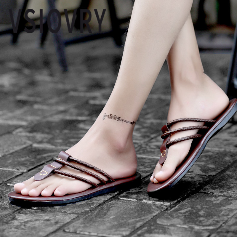VSIOVRY Fashion Men Flip Flops Leather Beach Shoes 2018 New Summer Shoes Outdoor Dual Use Slippers Flat Heels For Male Sandalias|Flip Flops| |  - title=