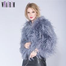 Зимняя меховая куртка из страуса, меховое пальто с перьями, повседневное пальто с длинным рукавом, австралийская импортная Меховая куртка из страуса, Женское пальто для ночного клуба