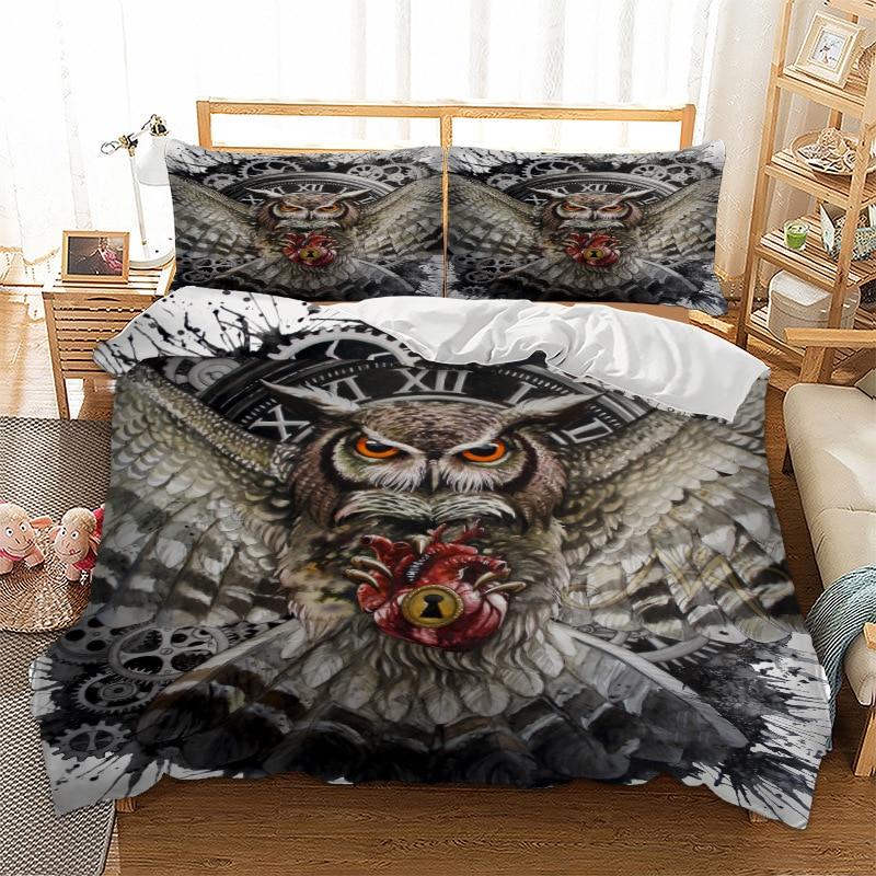 OWL  Bedding Set For Comforter Duvet Cover Set Quilt Cover Pillow Cases Super King Double Size 3pcs Bed Linen Set