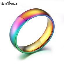 2018 Fashion High Quality Classic Men Women Rainbow Colorful Ring Titanium Steel Wedding Band Ring Width