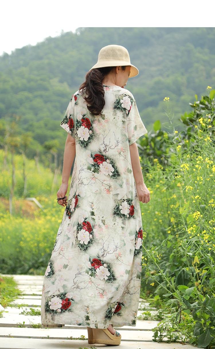 LZJN Original 2019 Summer Maxi Dress Women Short Sleeve Vintage Cotton Linen Showy Peony Printed Kaftan Dress with Side Pockets  (4)