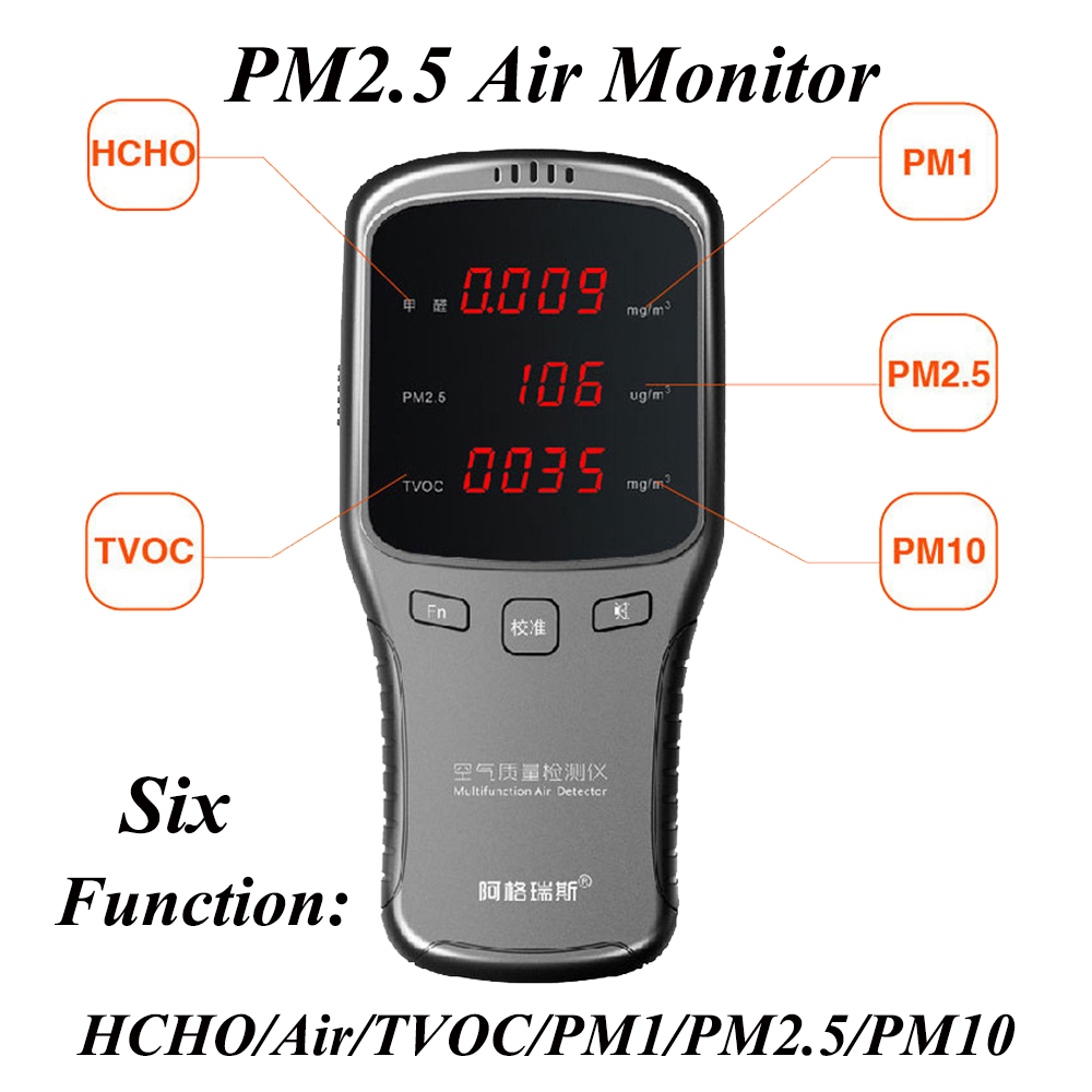Gas Analysatoren Digitale Pm2.5 Luft Detektor Hcho Tvoc Pm1.0 Pm10 Formaldeyde Detektor Gas Analyzer Haushalt Pm 1,0 2,5 10 Air Monitor