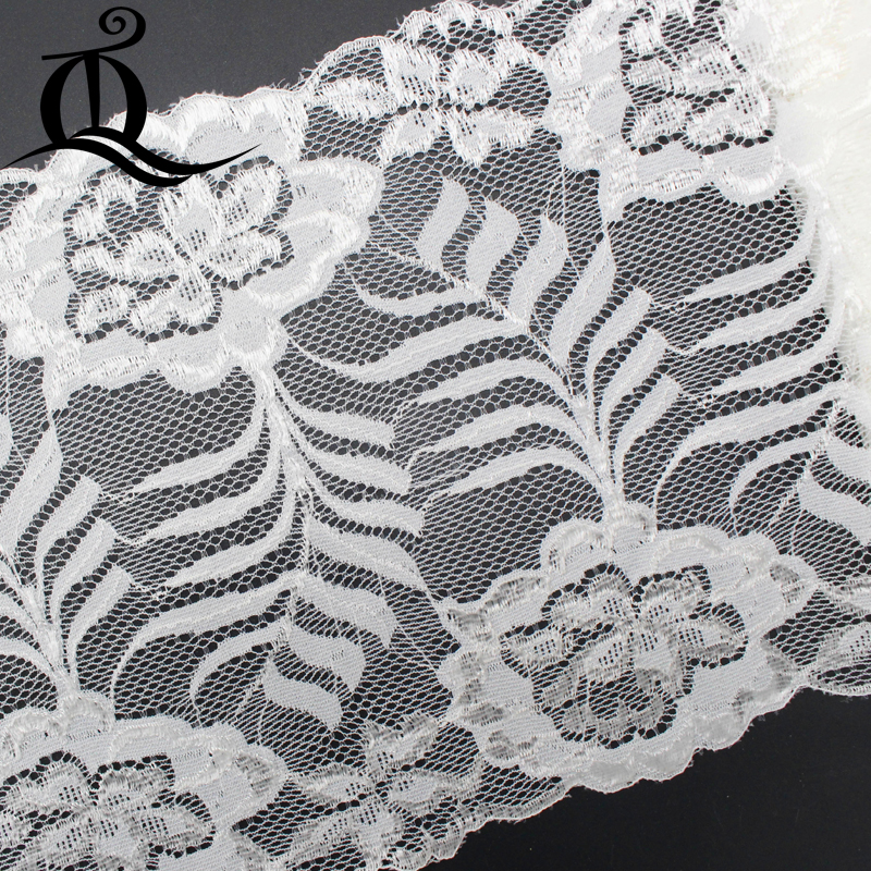 Tq Flowers Leaves High Quantity African Lace Fabric White